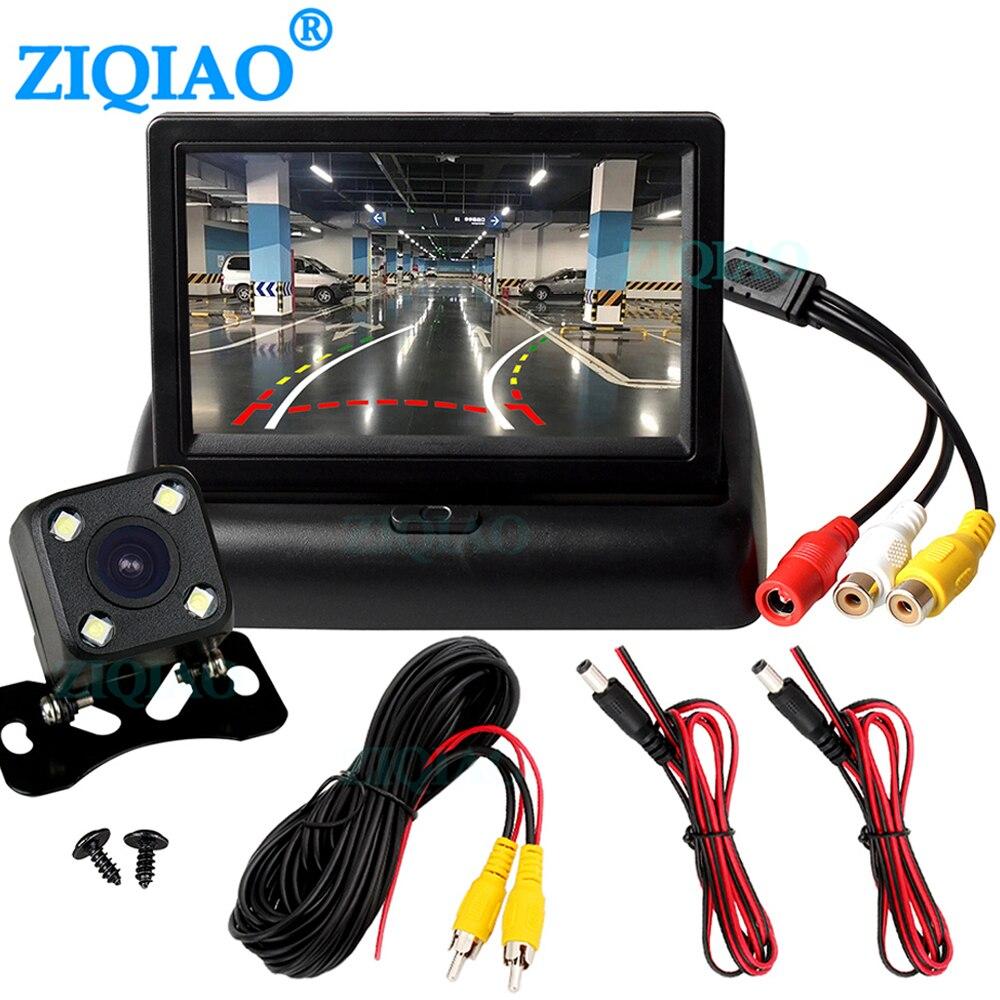 Ziqiao 4.3 polegadas tft lcd, câmera dobrável para carro, câmera reversa para estacionamento
