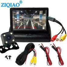 """Ziqiao 4.3 """"tft lcd monitor de carro dobrável câmera dinâmica reverso paking câmera para estacionamento sistema monitor reverso"""