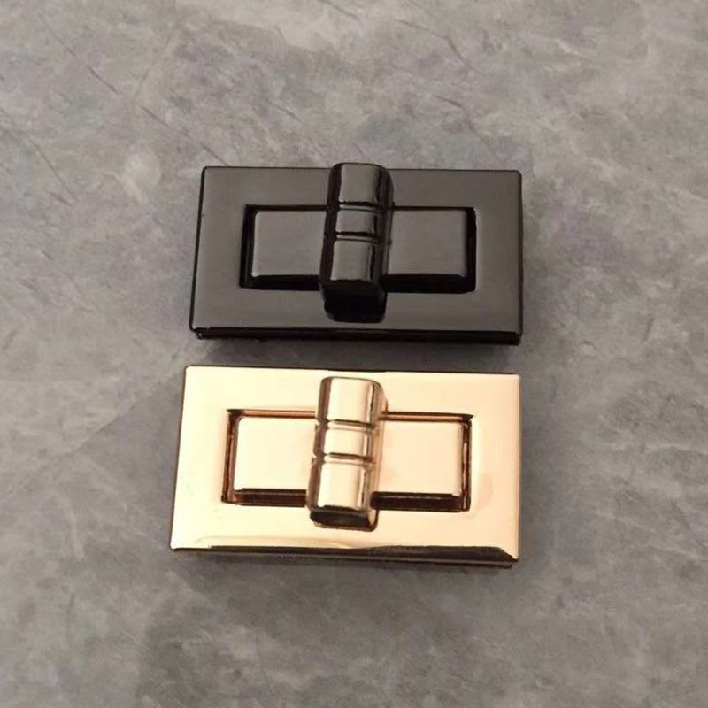 High Quality Rectangle Shape Clasp Turn Lock Twist Locks DIY Replacement Leather Handbag Bag Hardware Bag Accessories Gold Black