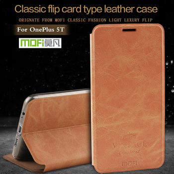 Original Mofi Case For Oneplus 5T Cover Silicone Frame Leather Back Flip Capa Fundas 360 Shockproof One Plus 6 5 Cases Shell