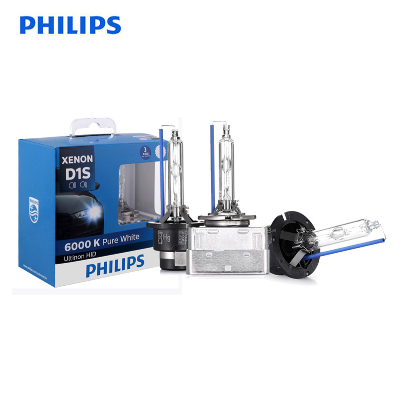 Philips D1S D2S D2R D3S D4S Ultinon HID 6000K Cool Blue Xenon White Light Car Upgrade Headlight Bulbs Flash Quick Start, Pair