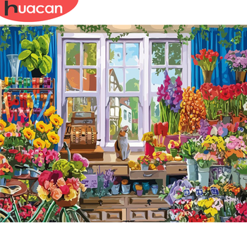HUACAN DIY Pictures By Number House Kits Painting By Numbers Flower Drawing On Canvas Hand Painted Paintings Gift Home Decor