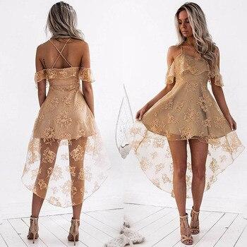 2020 Summer Sexy Lace Spaghetti Strap Cocktail Dress Sleeveless Short Front Back Long Evening Party Dresses Vestido Fiesta Largo