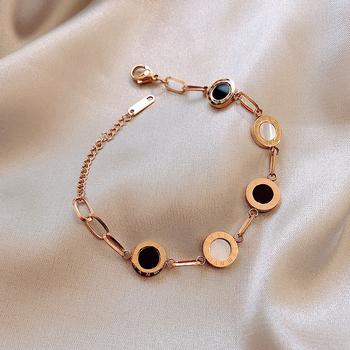 Luksusowe znane marki biżuteria różowe złoto ze stali nierdzewnej cyframi rzymskimi bransoletki i bransolety kobiet Charm bransoletka dla kobiet tanie i dobre opinie Charm bransoletki Kobiety STAINLESS STEEL Tytanu Klasyczny Moda ROUND