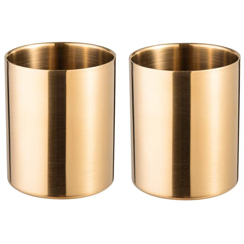2-Piece Pencil Cup Holder Pen Pot Makeup Brushes Holder Desk Stationery Organizer Stainless Steel (Gold)