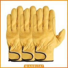 Handugls 3 pçs frete grátis venda quente proteção luva de trabalho masculino pele carneiro couro segurança ao ar livre luvas de trabalho atacado 527my