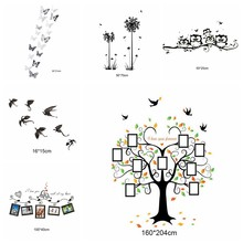 1PC Photo Frame Family Quotes Wall Stickers Frame Tree Butterfly Dandelion Wall Stickers Living Room Glass Window Decor(China)