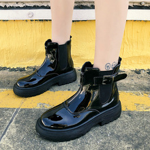 Fashion Punk Boots Women 2019 New Western Cowboy Black Ankle Soft Leather Rubber Shoes