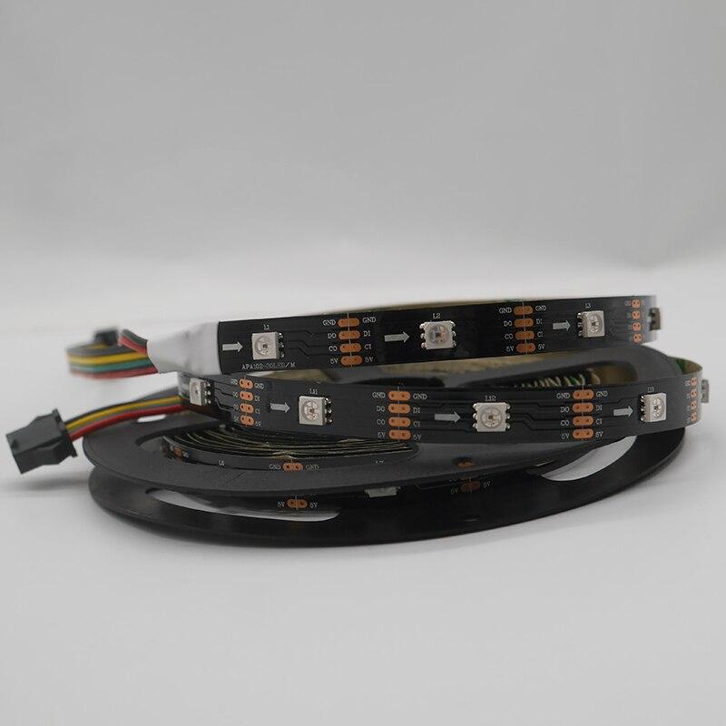 DC5V APA102 данных и часы отдельно умная светодиодная Пиксельная полоса; 1 m/3m/5 m; 30/60/144 светодиодов/пикселей/м; IP30/IP65/IP67