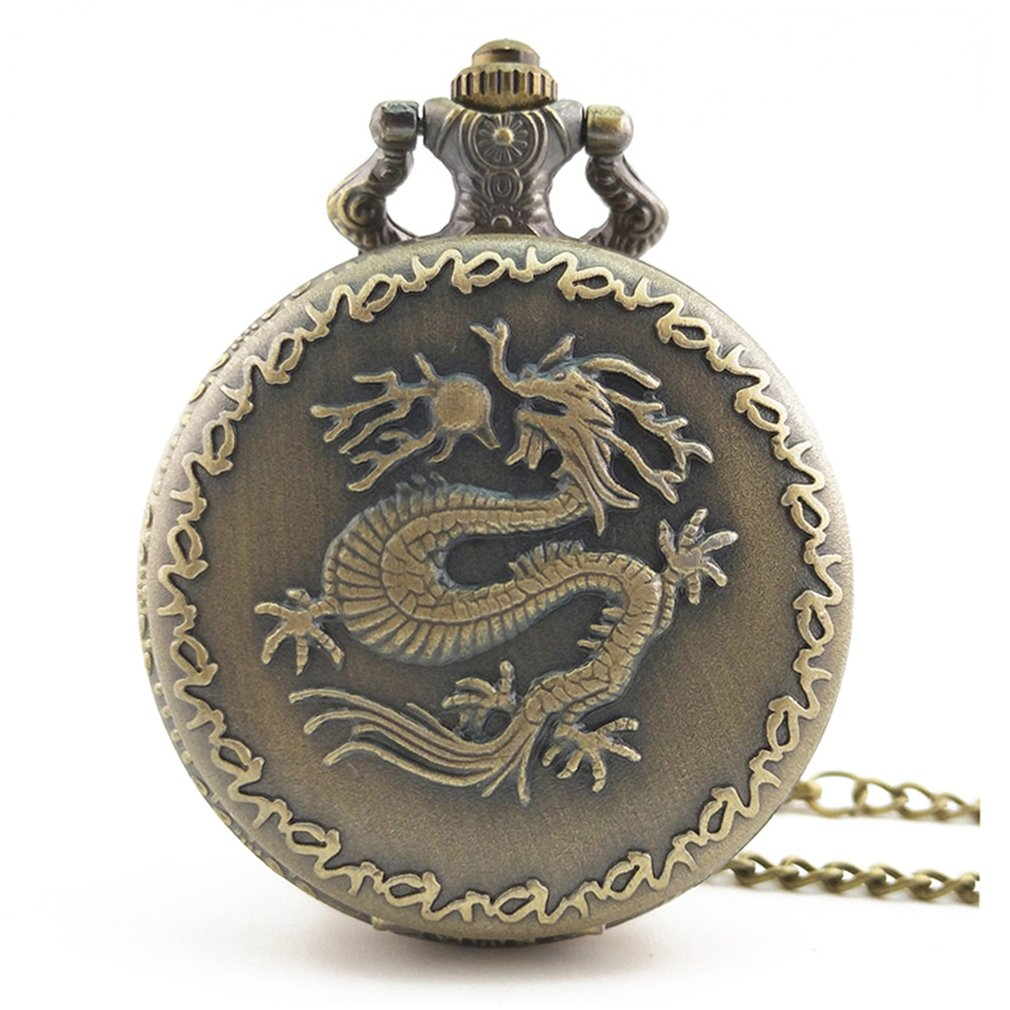 Chinese Dragon Carved Vintage Antique Round Dial Quartz Pocket Watch Necklace Pendant Clock For Mens Womens Best Gifts