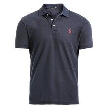 NEGIZBER Новая мужская рубашка поло, мужская повседневная хлопковая рубашка поло с вышивкой оленя, Мужская рубашка поло с коротким рукавом, высокое количество