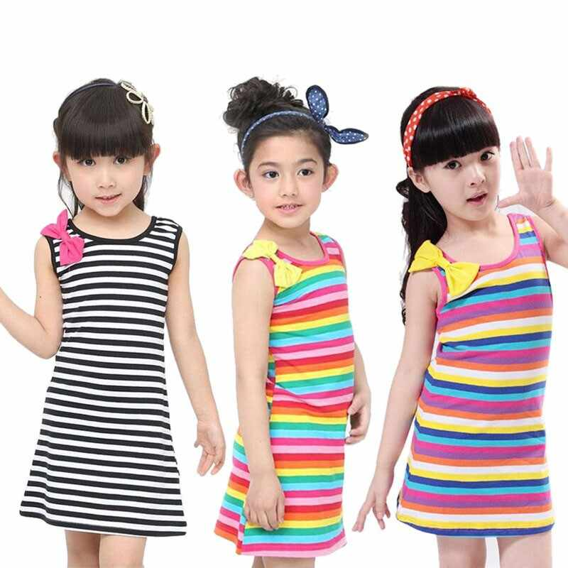 Kids Jurken Voor Baby Meisjes Kleding Set Vestidos Katoen Boog Gestreepte Mouwloze Kinderen Kleding Zomer Jurk 2-11 Jaar oude