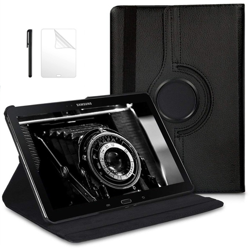 360 Degree Rotate Leather Case for <font><b>Samsung</b></font> <font><b>Galaxy</b></font> Note 2014 Edition <font><b>10.1</b></font> P605 P600 P601 <font><b>Tab</b></font> <font><b>Pro</b></font> <font><b>SM</b></font>-T520 <font><b>T525</b></font> T521 Case+Film+Pen image