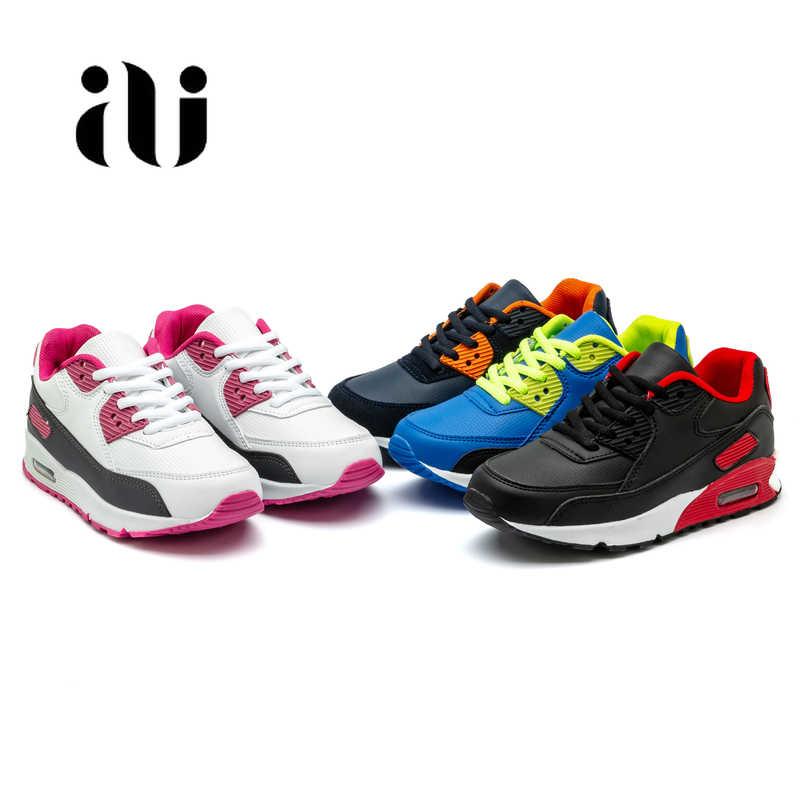 Новые детские повседневная обувь из кожи; обувь для бега для девочек кроссовки на воздушной подушке демпфирования мальчиков кроссовки, мягкая подошва; детская спортивная обувь