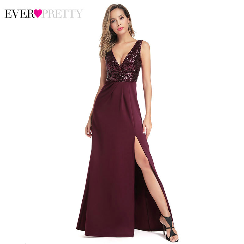 Sexy Burgundy Prom Dresses Ever Pretty Deep V-Neck Sequined Side Split Ruched Sleeveless Mermaid Party Gowns Vestido Gala Mujer
