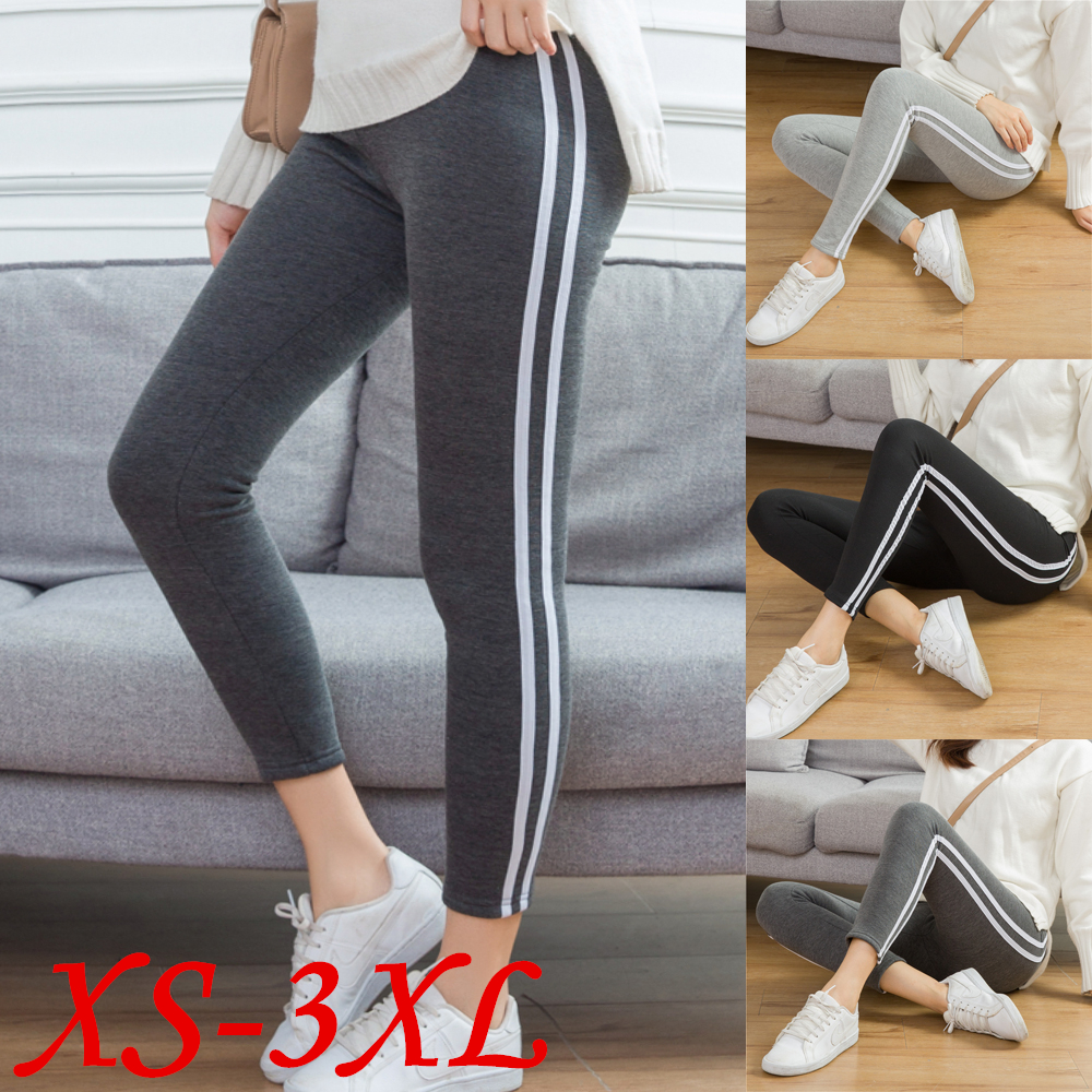 Cotton Ankle Length Pants Women  Autumn And Winter Casual  Sweatpants Pencil Striped Women's Trousers