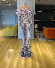 Robe De Soiree Crystals Beading Evening Dresses 2020 Long Illusion Feathers Prom Dresses With Sleeves Elegant Celebrity Dresses