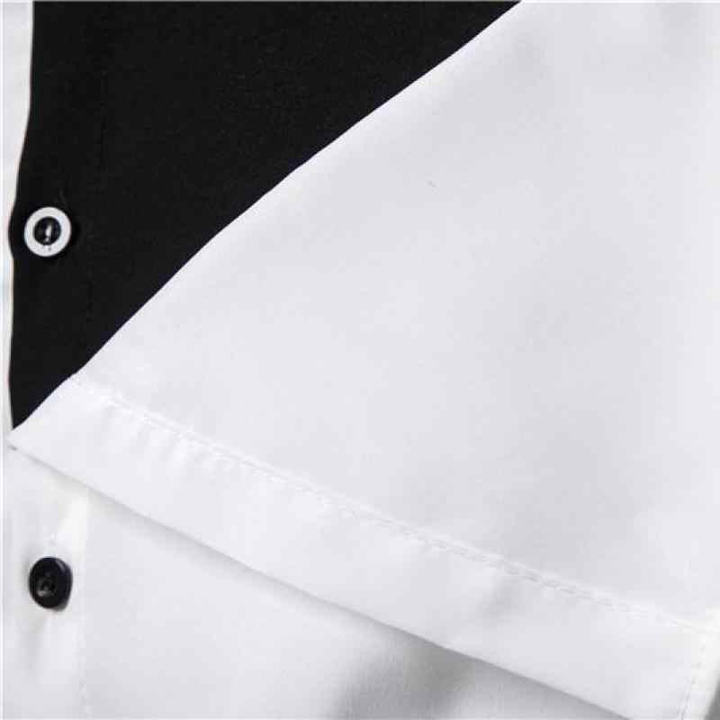 Color Block męska koszula z długim rękawem koreański styl mężczyźni koszule z pełnymi rękawami dla mężczyzn 2020 pojedyncze łuszcz męska sukienka koszula ubranie biurowe