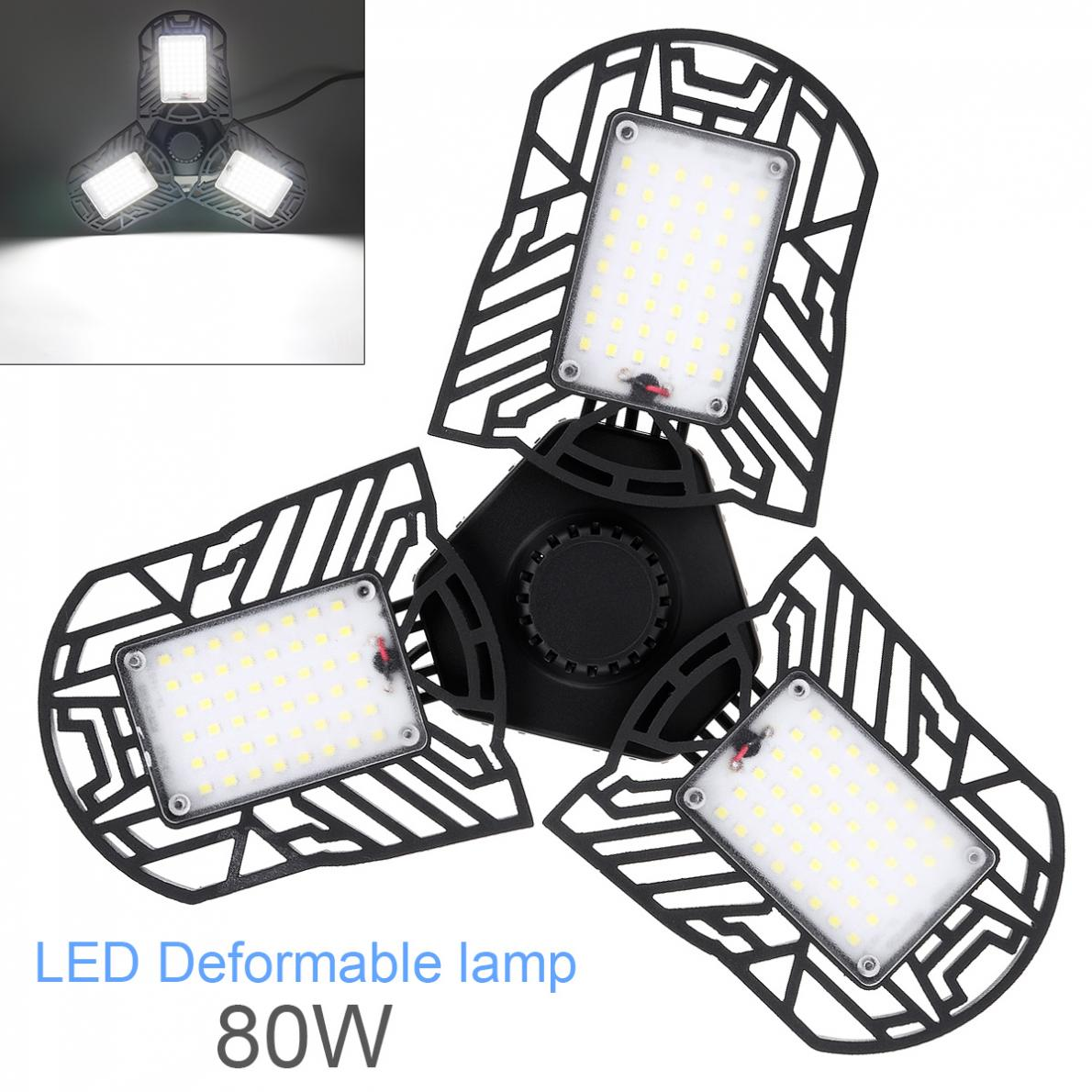 <font><b>60W</b></font> 6000LM E27 <font><b>LED</b></font> <font><b>Floodlight</b></font> Radar Induction Deformable Garage Light Super Bright Industrial Lighting for Warehouses Parking image