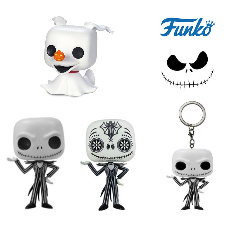 FUNKO POP Jack Skellington The Nightmare Before Christmas Zero Action Figures Collection Model Toys Keychain For Halloween Gift