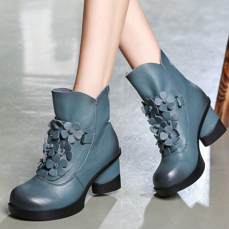 Gktinoo 가을 겨울 패션 정품 가죽 신발 여성 부츠 캐주얼 여성 두꺼운 하이힐 수제 여성 발목 부츠-에서앵클 부츠부터 신발 의  그룹 1