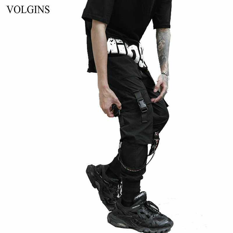 Streetwear Mens Multi Pocket Cargo Pants Male Solid 2020 New Ribbons Joggers High Quality Hip Hop Men Long Trousers Black