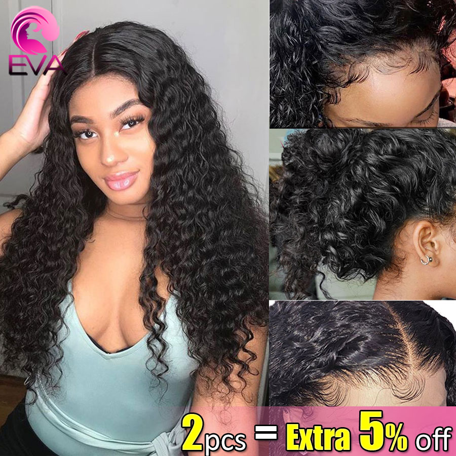 Eva Hair 13x6 Lace Front Human Hair Wigs Pre Plucked With Baby Hair Bleaches Knots Curly Brazilian Remy Hair Wig For Black Women