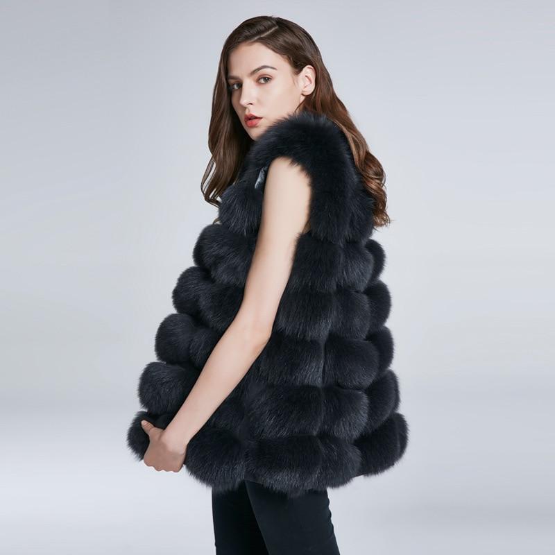 JKP натуральный жилет из натурального Лисьего меха, пальто из натурального меха для куртки, женские пальто, жилет, жилет, длинные меховые паль...