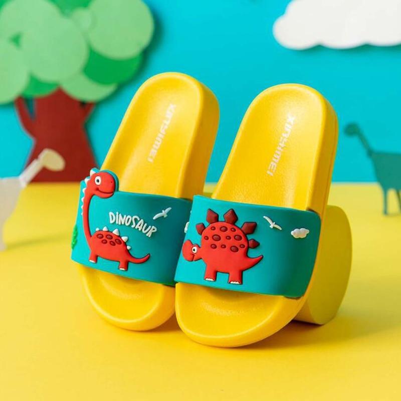 Children's Sandals Summer Dinosaur Shoes Boys Girls Slippers Soft Bottom Non-slip Beach Sandals Kids Home Bathroom Flip Flops