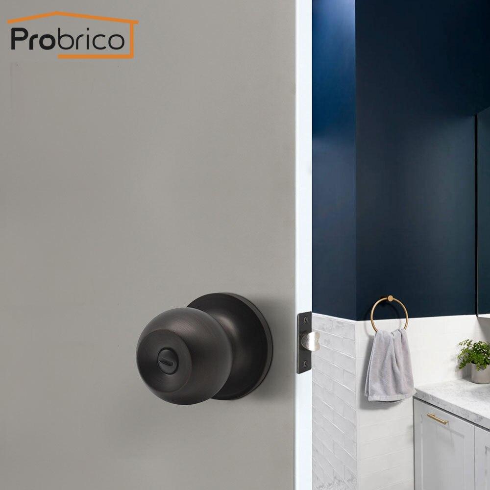 Probrico Oil rubbed bronze door handles for Interior Door Privacy Lock Round Handle Bedroom Door Handle Lock