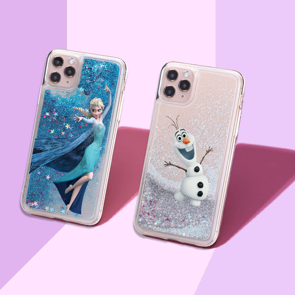 <font><b>Cartoon</b></font> Elsa Snow White Sparkle Liquid Real Glitter Phone Case <font><b>Fundas</b></font> Cover for <font><b>iPhone</b></font> 11 X XS XR Max Pro 7 8 7Plus 8Plus 6 image