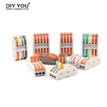 10/30/50/100 PCS Wire Connector Universal Compact Conductor Spring Splicing Push-in Terminal Block SPL 2 3 4 5 Pin With Lever 5 pcs 4 pins spring loaded push type speaker terminal board 64x25mm