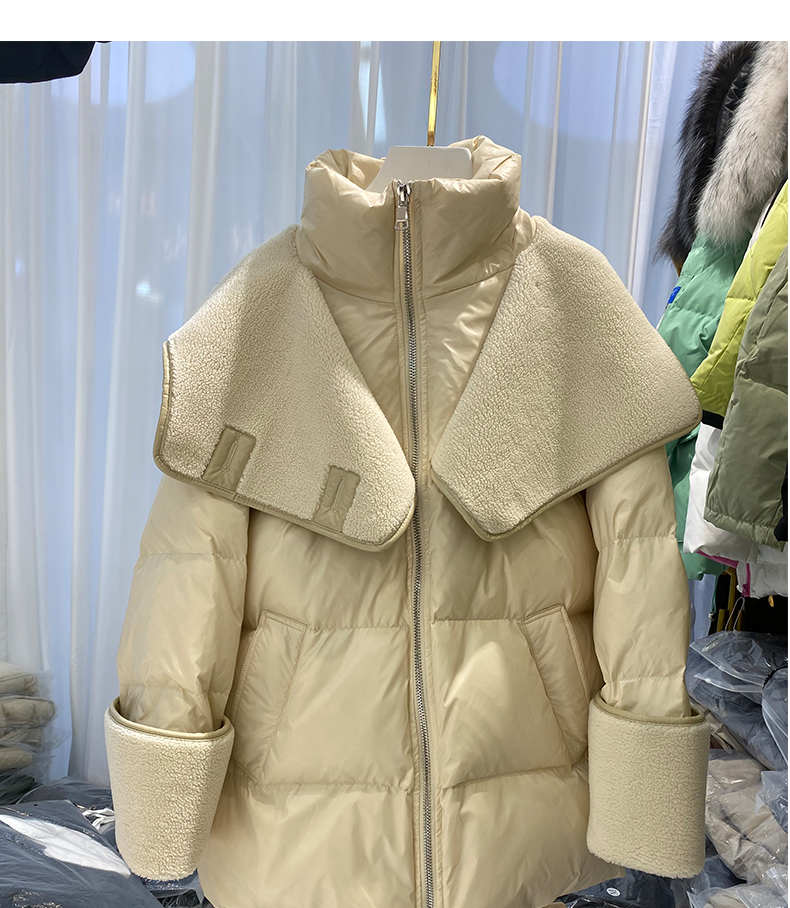 He020fa961032477196084a201dffbc85V 2021 winter new down jacket women new fashion mid-length loose and thin lamb hair stitching white duck down long-sleeved jacket