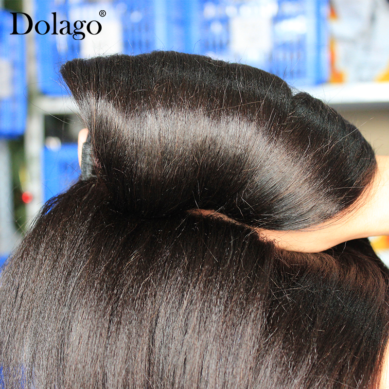 Image 4 - Yaki Human Hair Brazilian Hair Weave Bundles 3 Light Yaki Straight Hair Extensions 1 Piece Dolago Remy Human Hair Products-in Hair Weaves from Hair Extensions & Wigs