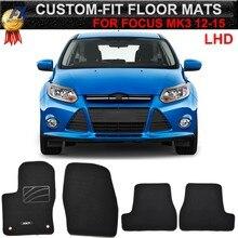 Alfombrillas de suelo de coche a medida para Ford Focus 3 MK3, tapete de nailon negro, 2011, 2018, 2012, 2013, 2014, 2015, 2016, 2017