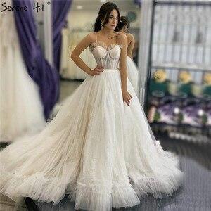 Image 1 - 아이보리 섹시한 연인의 간단한 웨딩 드레스 2020 민소매 레이스 신부 가운 고요한 힐 HA2341 맞춤 제작