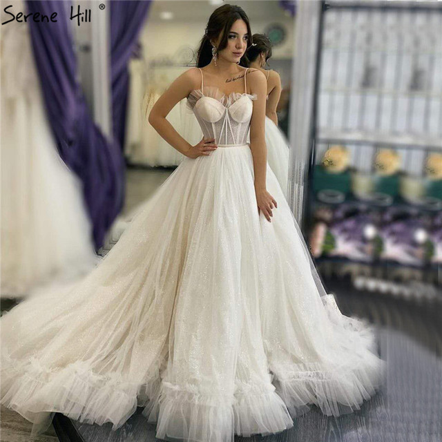 아이보리 섹시한 연인의 간단한 웨딩 드레스 2020 민소매 레이스 신부 가운 고요한 힐 HA2341 맞춤 제작