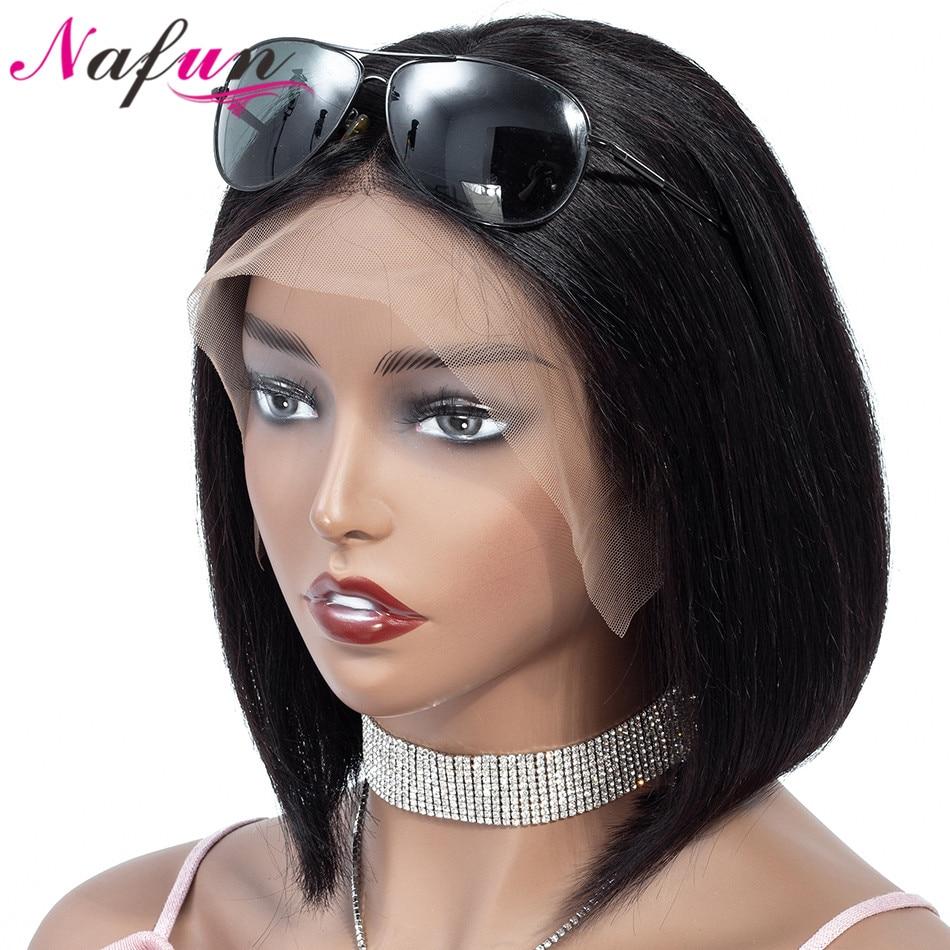 Nafun13x4 avant de lacet perruques de cheveux humains péruvien Remy cheveux droit Bob avant de lacet perruques pour les femmes noires courtes perruques de cheveux humains