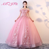 AXJFU luxury princess pink lace bride evening dress vintage boat neck rose beading flower host ball gown stage evening dress