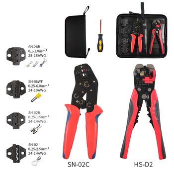 Multifunction Wire connector stripper Crimper kit Engineering Ratchet Terminal Crimping Plier Wire Screwdriver Hand Tool Sets hand tool sets matrix 13562