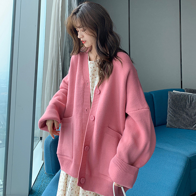 2020 Autumn & Winter New Arrival Solid Color Loose Cardigan Sweater Mid-length Long-sleeved Sweater Coat Free Shipping