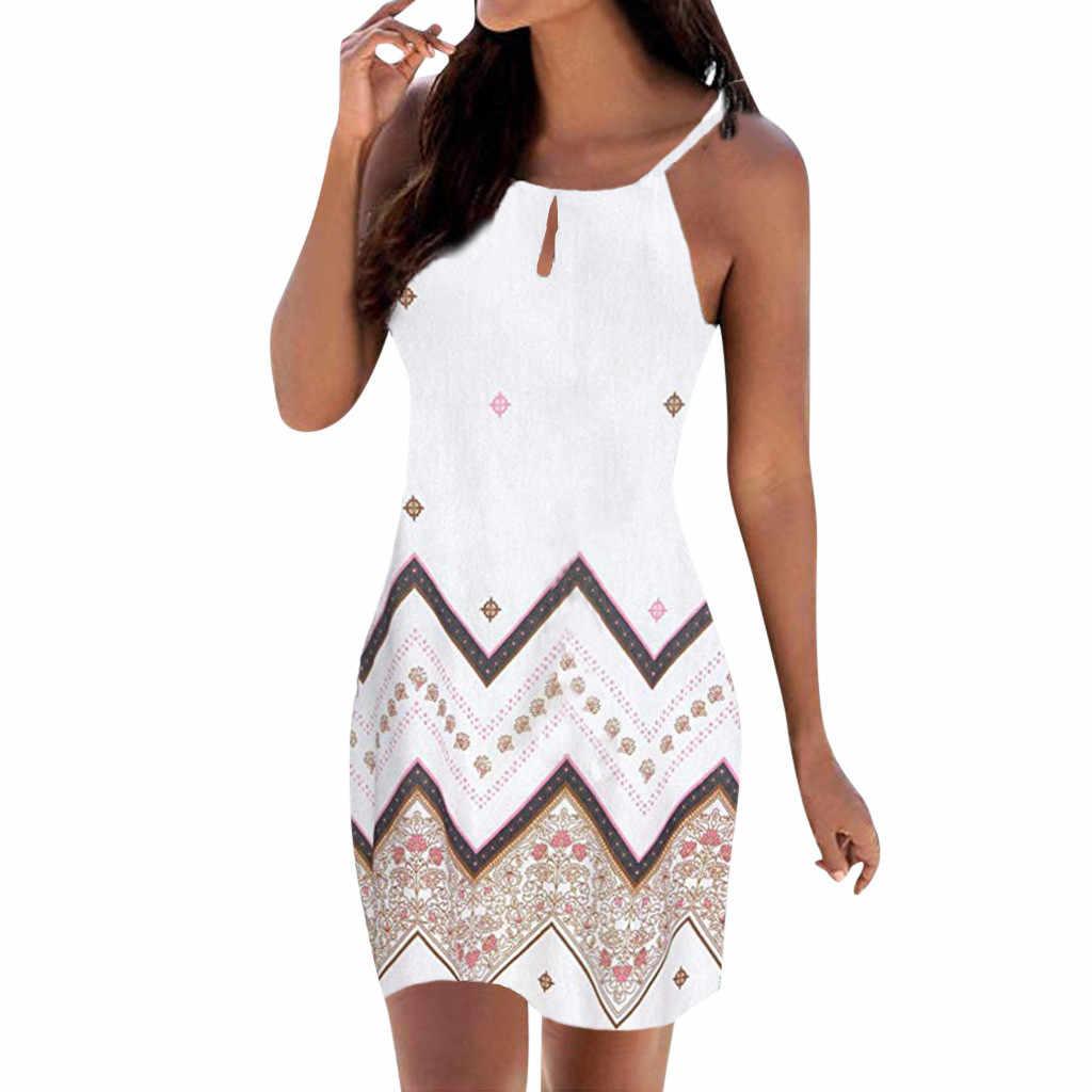 Vrouwen Halter Hals Boho Print Mouwloze Casual Mini Beachwear Jurk Zonnejurk Jurk Ropa Mujer 2019 # Ew