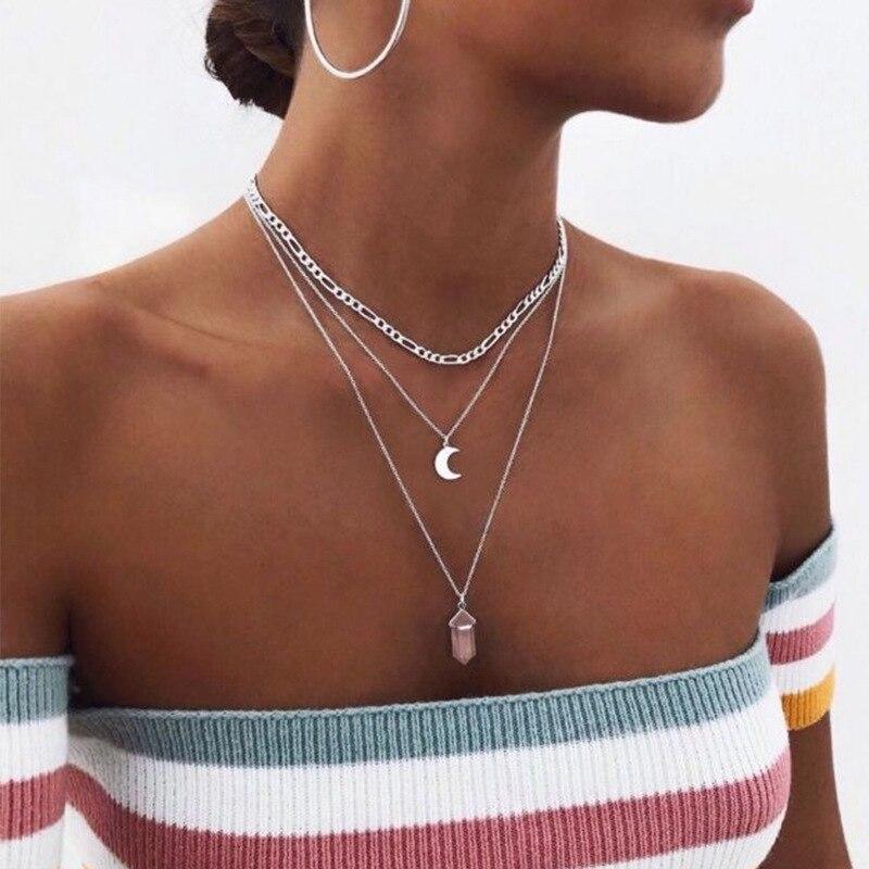 Женское многослойное ожерелье в стиле бохо, ожерелье в стиле панк с розовыми кристаллами и дикой луной, 2021