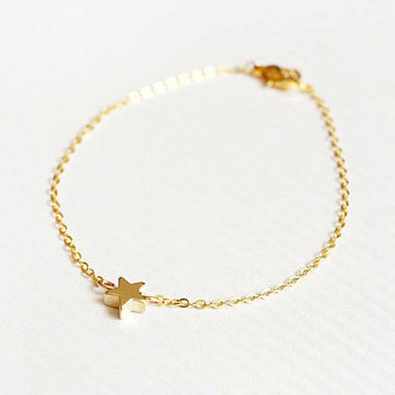 Bracelet porte-bonheur étoile dorée en argent pour femmes hommes enfants Bracelet tressé en corde réglable cadeau Couple maman fille