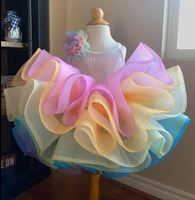 Pretty Raibow Flower Tutu Girls Pageant Dresses Puffy Tiered Tulle Flower Girl Dresses Baby Kids Birthday Dresses