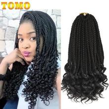 TOMO, 14, 18, 24 дюйма, в коробке, косички, кудрявые, вязанные крючком косички, 22 пряди, синтетические, Омбре, косички, волосы для наращивания, вязанные крючком волосы для женщин