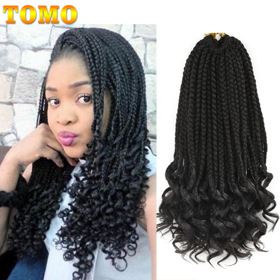 TOMO 14 18 24Inch Box Braids Curly Crochet Braid 22 Strands Synthetic Ombre Braiding Hair Extensions Crochet Hair For Women