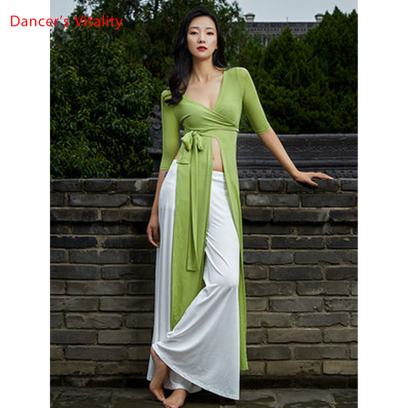 Autumn New Belly Dance Dress Women Modern Oriental Dance Practice Clothes Wide Leg Pants Suit