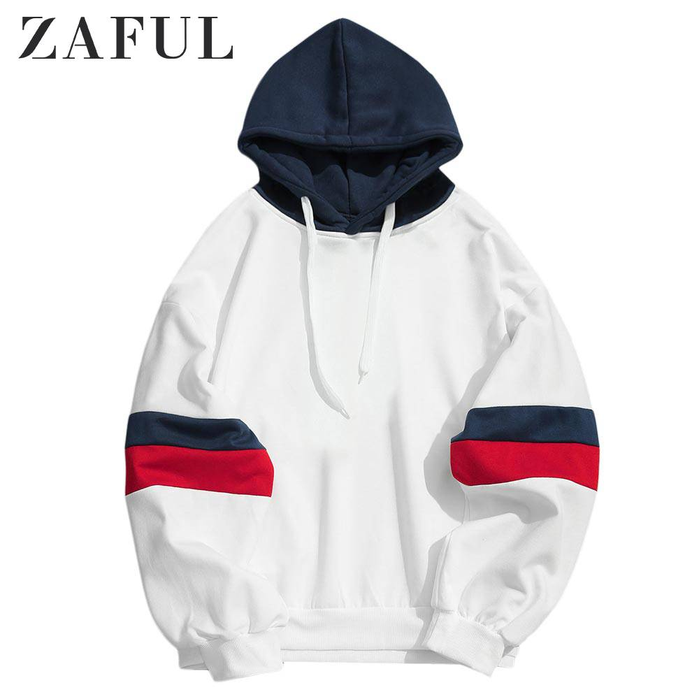 ZAFUL Casual Splicing Color Block Hoodie Full Sleeves Patchwork Tops Men Cotton Pullover Autumn Winter Outdoor Streetwear