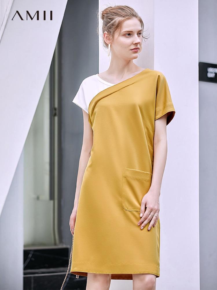 Amii Summer Women Patchwork Dress Fashion Female Round Neck Short Sleeve Slim Belt Length Dresses 11970177
